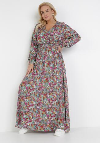 Miętowo-Fioletowa Sukienka Kelatai