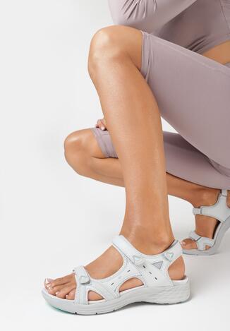 Szaro-Miętowe Sandały Aroagina