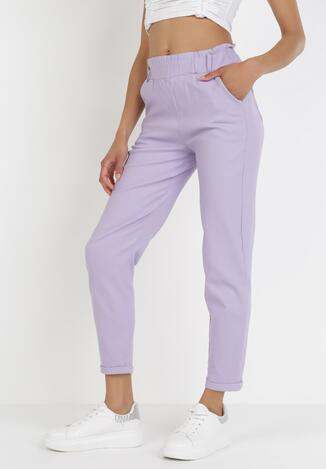 Liliowe Spodnie Paper Bag Leuliria
