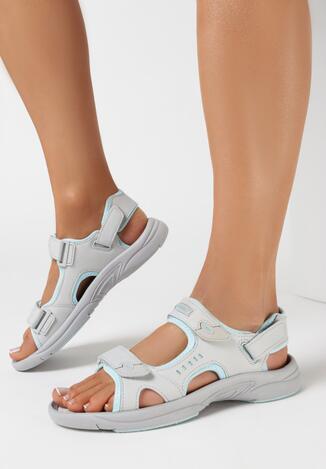 Szaro-Niebieskie Sandały Temine