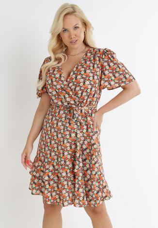 Granatowo-Pomarańczowa Sukienka Cherithia