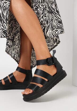 Czarne Sandały Aethinoire