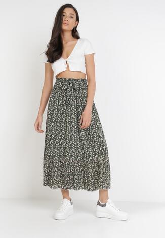 Czarno-Zielona Spódnica Nysahria