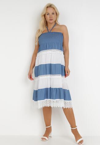 Niebiesko-Biała Sukienka Meniphethis
