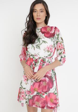 Różowo-Biała Sukienka Zelise