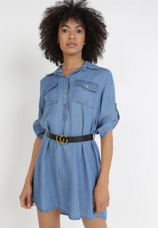 Niebieska Sukienka Z Paskiem Physohsa