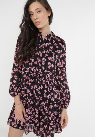 Czarno-Różowa Sukienka Ophiaxaura