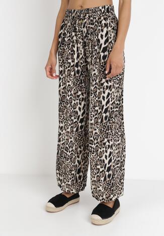 Beżowe Spodnie Szerokie Prosaxaura