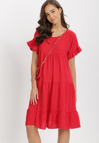 Czerwona Sukienka Z Małą Torebką Athali