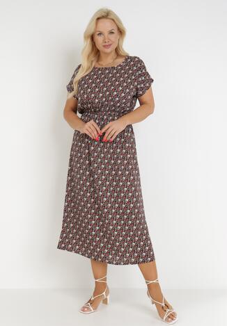 Czarno-Bordowa Sukienka Taphophis