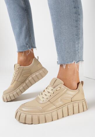 Ciemnobeżowe Sneakersy Peisis