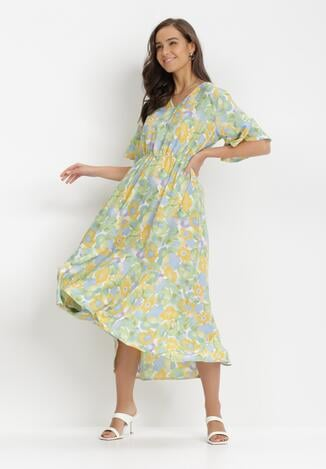 Miętowo-Żółta Sukienka Ginoraris