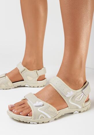 Beżowo-Białe Sandały Ginoryra