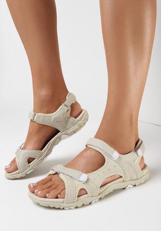 Beżowo-Białe Sandały Paphasos
