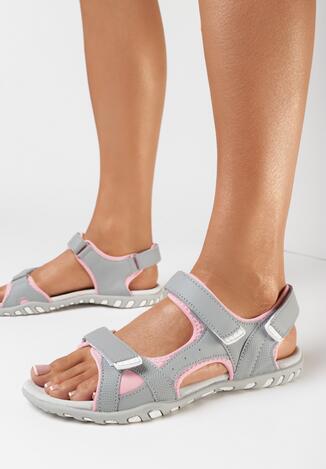 Szaro-Różowe Sandały Marena