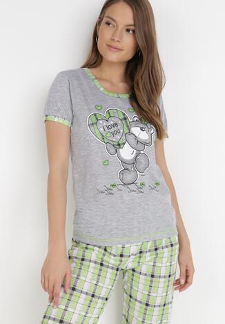 Szaro-Zielony 2-Częściowy Komplet Piżamowy Bolipeia