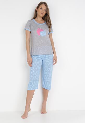 Szaro-Niebieski 2-Częściowy Komplet Piżamowy Dorienella