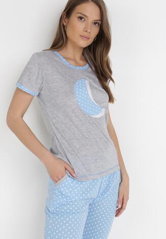 Szaro-Jasnoniebieski 2-Częściowy Komplet Piżamowy Aerimara