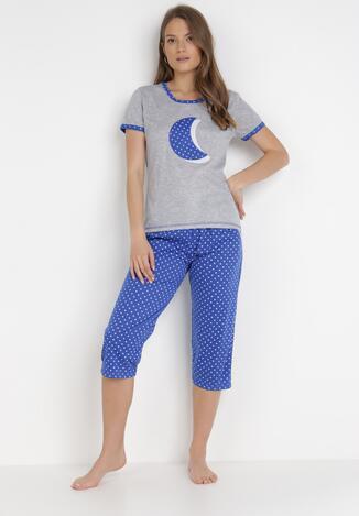 Szaro-Niebieski 2-Częściowy Komplet Piżamowy Aerimara