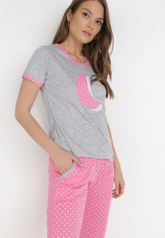 Szaro-Różowy 2-Częściowy Komplet Piżamowy Aerimara