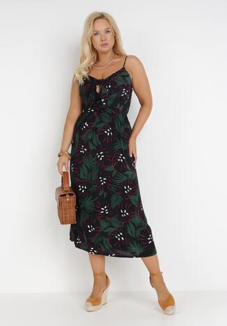 Czarno-Zielona Sukienka Thimu
