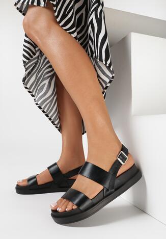 Czarne Sandały Nesaleora
