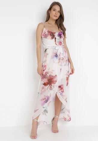 Biało-Fioletowa Sukienka Thialcia