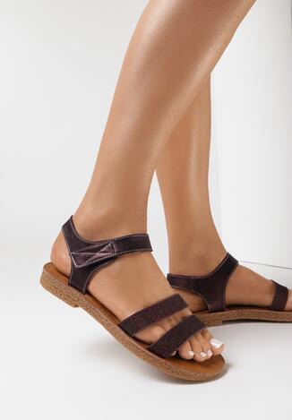 Bordowe Sandały Asinope