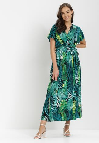 Czarno-Zielona Sukienka Klemisia