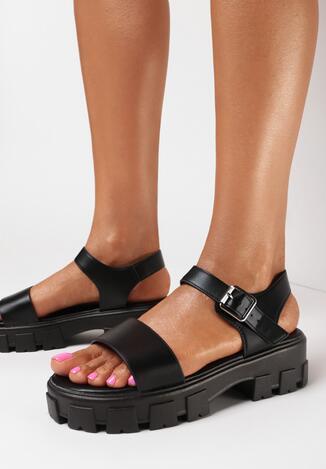 Czarne Sandały Siregune