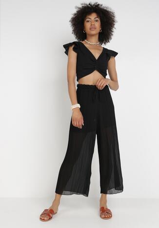 Czarne Szerokie Spodnie Aethemei