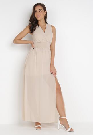 Beżowa Sukienka Corarena