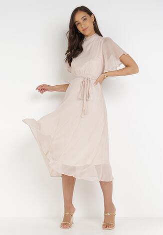Beżowa Sukienka Acsophia
