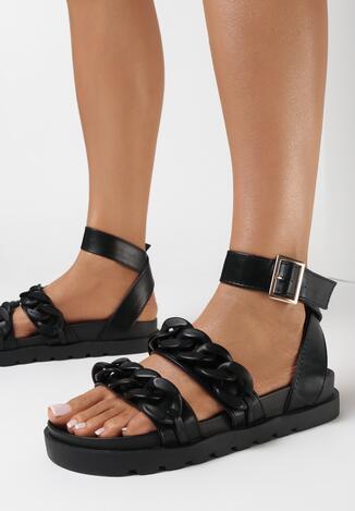 Czarne Sandały Enegan