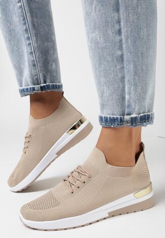 Ciemnobeżowe Buty Sportowe Kaigune