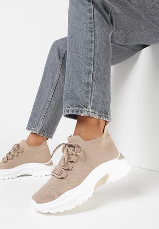 Ciemnobeżowe Sneakersy Chosa