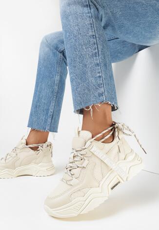 Beżowe Sneakersy Ceerowen