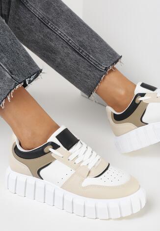 Biało-Beżowe Sneakersy Chromo
