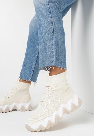 Beżowe Sneakersy Hadilo