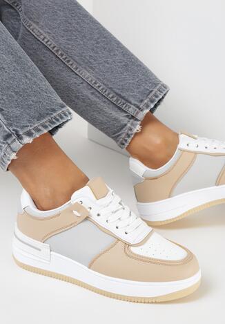 Biało-Beżowe Sneakersy Xeinco
