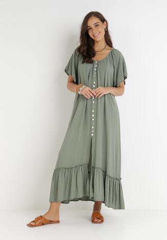 Ciemnozielona Sukienka Huzea