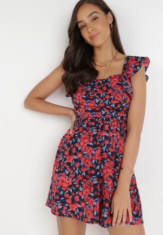Czarno-Czerwona Sukienka Rontele
