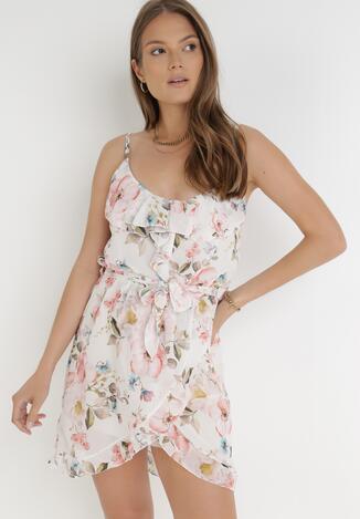 Biało-Różowa Sukienka Leomaris