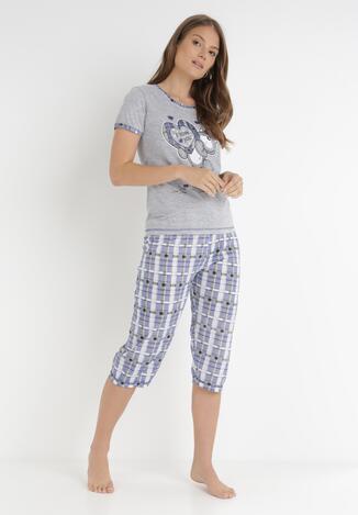 Szaro-Niebieski 2-Częściowy Komplet Piżamowy Bolipeia