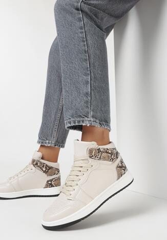 Beżowe-Wężowe Buty Sportowe Prosedice