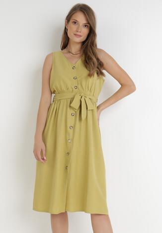 Jasnozielona Sukienka Hisnura