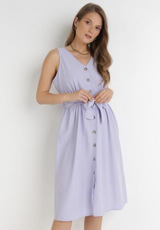 Liliowa Sukienka Hisnura