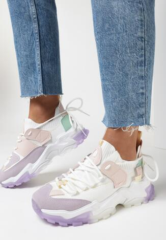 Biało-Liliowe Sneakersy Vicandi