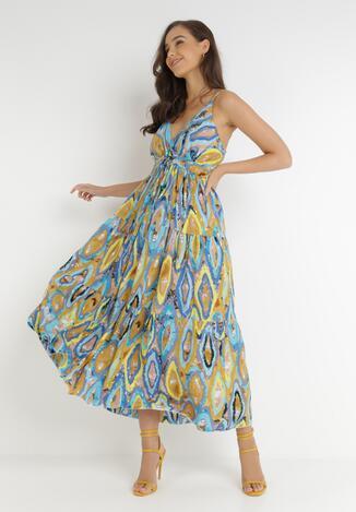 Niebieska kolorów Sukienka Vanenia