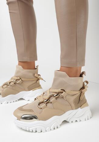 Ciemnobeżowe Sneakersy Teremisia